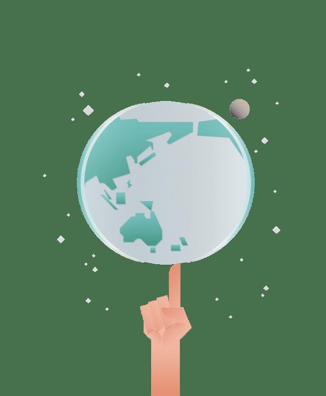 Globe spinning on tip of a finger